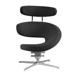 Peel Designstuhl schwarz mit Kopfstütze Fußkreuz